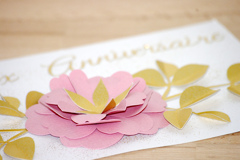 Carte anniversaire jolie fleur pour Anna